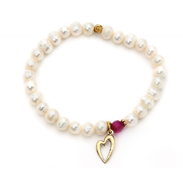 Fresh water pearls and small gold heart charm bracelet